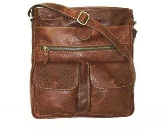 "11"" laptop Leather Messenger Bag // Leather Cross-body Purse // Leather Handbag Iris"