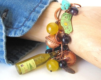 Cowgirl bracelet western jewelry cowgirl jewelry unique jewelry western bracelet wine jewelry California wine lover gift