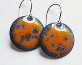 Orange and blue enameled drop earrings Surgical steel Enamel disc dangles Hypoallergenic copper enamel jewelry