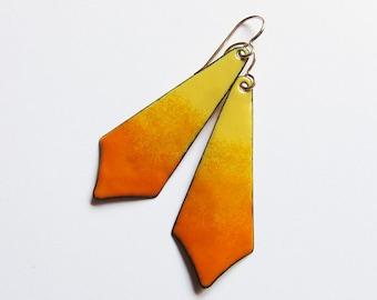 Long yellow orange enamel earrings Boho enameled copper gold wire dangles Colorful bohemian jewelry