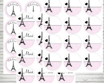 """Paris Editable 2.5"""" Tags (INSTANT DOWNLOAD) Merci Paris Tags Paris cupcake toppers Paris baby shower - Paris labels - Paris stickers BD60"""