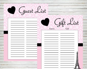 Paris Guest List Sign In U0026 Gift List Bridal Shower Baby Shower Birthday  Party Instant  Birthday Party Guest List