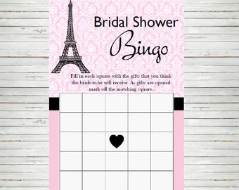 Paris Bridal Shower ~ Instant Download Bridal Bingo Game Cards, France Parisian Theme, Printable Party Sheet BD60