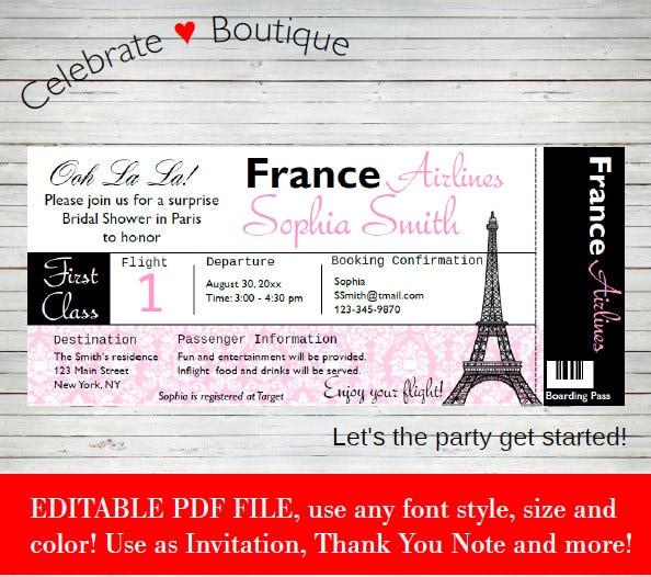 Paris Boarding Pass Bridal Shower Baby Shower Birthday Party – Airline Ticket Birthday Invitations