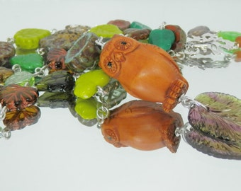Handcarved Netsuke Owl and Czech Glass Fall Leaves Handmade Sterling Necklace