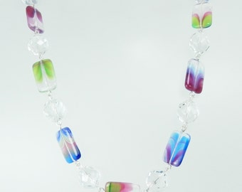 Deep Rose, Sapphire and Green Czech Glass Bead Chain Style Necklace