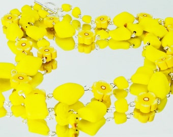 Rubber Ducky and Yellow Flower Bead Chain Style Necklace