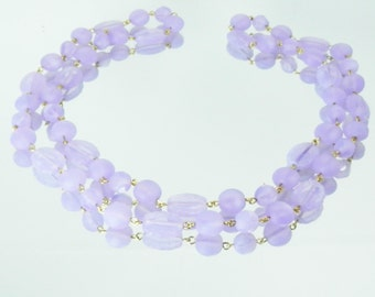 Opal Lavender Glass Beaded Chain Style Necklace