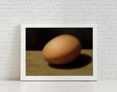 Brown Egg Study - Still Life Painting - Oil on Gessoed Panel - 5 x 7 inches