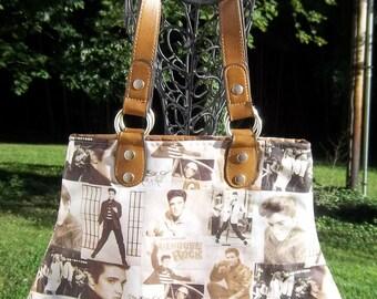 Elvis Collage Fabric Handbag Purse Sepia Brown Neutral Young Elvis