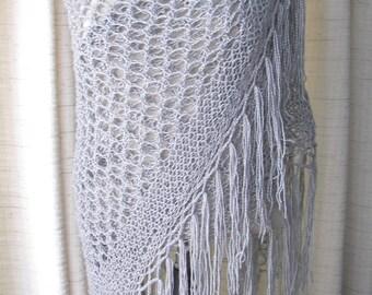 Platinum Silver Grey Hand Knit SHAWL Wrap in shimmering acrylic yarn / Luxurious Gift / Sparkling Shawl / Bridal shawl wrap