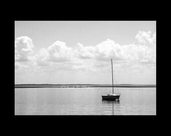 Sailboat Photography-Nautical Artwork-Coastal Wall Decor-Minimalist-B&W-Fine Art Photography-Sizes Up To 30x40-Puffy Clouds-Boat Reflection