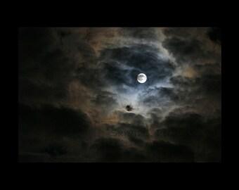Dramatic Wall Art-Moon Photography-Ethereal Wall Decor-Night Sky-Moon & Clouds-Fine Art Wall Print-24x36-White-Navy-Tan-Black-Lunar Print
