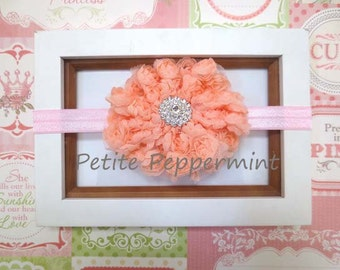 Baby headband, baby girl headband, newborn headband, toddler headband - Peach Flower Baby Headband