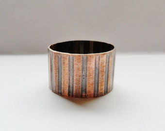 Corrugated Copper Mens or Womens Wide Band Ring,  Band Ring, Wide Metal Ring, Mens Ring, Womens Ring