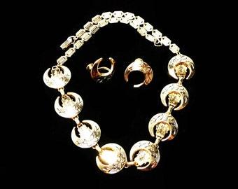 Etruscan Style Necklace Earring Set - Vintage Designer Signed Karu - Floral Crescents
