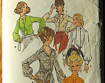 Vintage 70's Misses' Blouse 5 Variations Butterick 4583 Sewing Pattern Available in Size 12 OR 14