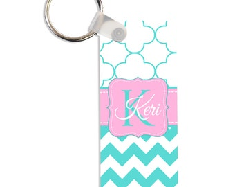 Petals Chevron Personalized Square, Round or Rectangle Key Chain