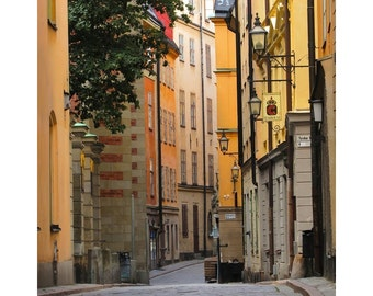 Fine Art Color Photography of Empty Street in the Old Town of Gamla Stan in Stockholm Sweden