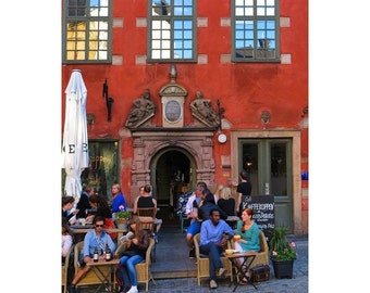 Fine Art Color Photography of Cafe in Gamla Stan Old Town Stockholm Sweden