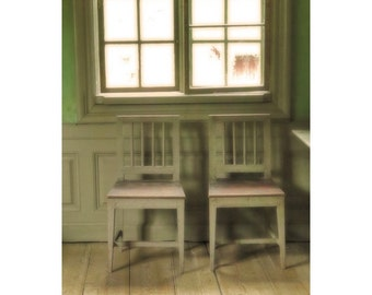 Fine Art Color Photography of Two Green Chairs by a Window in a Green Room in Finland
