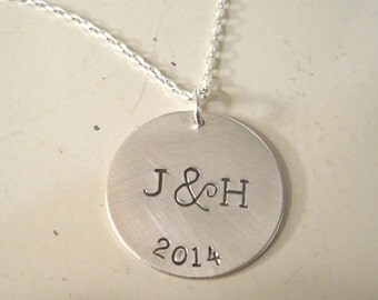 Stamped Sterling silver personalized monogram couple necklace, anniversary, wedding gift, initials