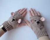 knitted hand warmers, fingerless mittens, knitted bear gloves, crocheted bear mittens, ladies mittens, girls gloves