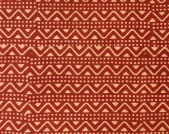 Cotton Fabric Print - Beige and red geometric block Print - 1 Yard - ctsm122
