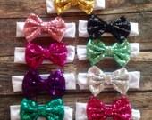 On Sale Sequin Bow Headband Baby Toddler Kids Bow Hair Bow Headband Sequin Bow Mint Bow Pink Bow Sparkle Bow Headband Bow Black Bow Gold
