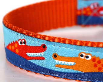 Happy Alligators Dog Collar, Crocodile Adjustable Pet Collar, Preppy Ribbon Dog Collar