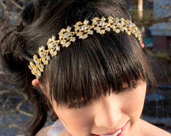 Gold Crystal Headband - Gold tiara - Bridal Headpiece - Bridal Headband - Prom Headpiece - Prom Headband - Bridal Tiara - Collette