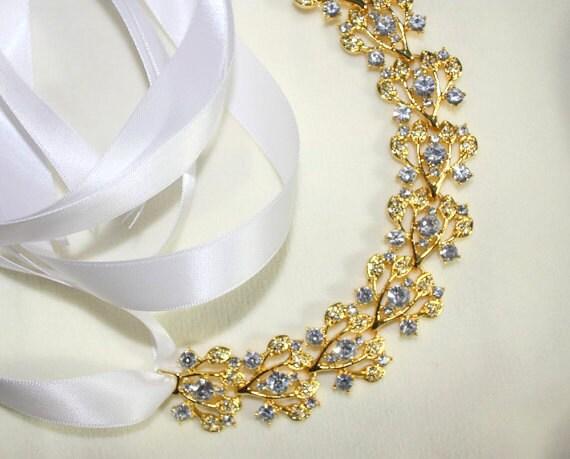 Petite Gold Headband - Gold Tiara - Crystal Headpiece - Prom Headband - Bun Wrap - Bun Crown - Bridal Headband - Bridal Tiara  - Collette