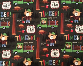 An Adorable Lumberjack Bear Timber In The Forest Cotton Flannel Fabric BTY Free US Shipping
