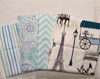 A Wonderful Home In Paris With Stripes In BLue And White Cotton Fabric A Lot Of 4 Fat Quarters 1 Yard Of Fabric Free US Shipping