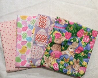 An Adorable Hippity Hop Easters On Its Way Holiday Cotton Fabric Lot Of 4 Fat Quarters 1 Yard Of Fabric Free US Shipping
