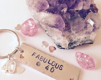 40th birthday gift | 40th present | 40th keyring | Gift for 40th | fabulous at forty | personalised 40th gift | gift for her | birthday gift