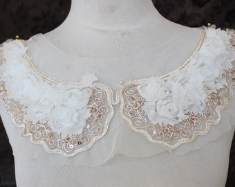 Cute  embroidered  chiffon  flower  applique white  color