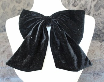 Cute velvet  bow  applique black color