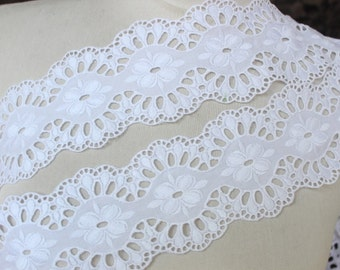 Cute embroidered  lace  white color   1 yard listing