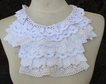 Nice ruffled  applique yoke  white color 1 pieces listing