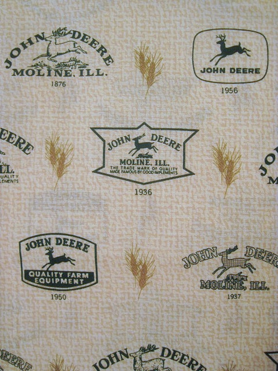 18x22 John Deere Cotton Fabric Fat Quarter Moline Tan