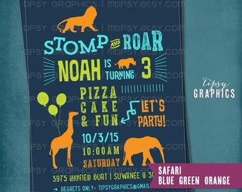 STOMP & ROAR Safari Zoo Birthday Party Invite.  Super Fun Safari Zoo Animal Birthday Party  Invitation