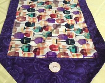 Table Runner - House Warming Gift - Handmade Gift - 2nd Anniversary Gift ** Wine Glasses w Deep Purple Runner **