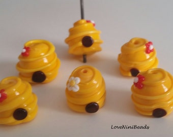 Bee Hives - Lampwork Glass Bead