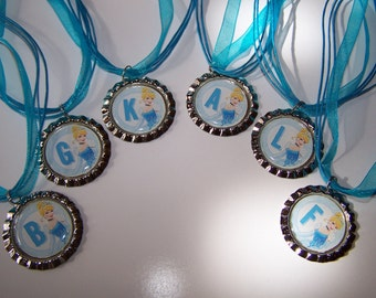 Personalized Princess Party Favors / Cinderella Bottle Cap Necklaces / Girls Party Favors