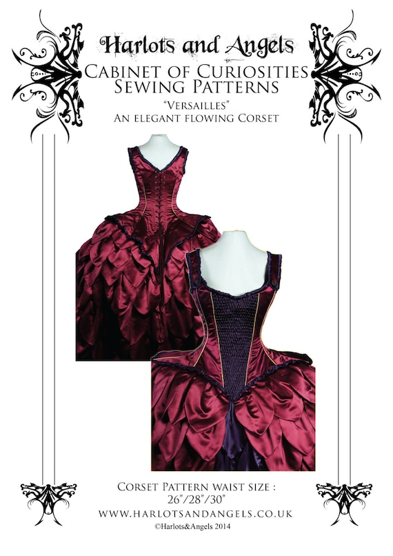 Rococo Corset Paper Sewing pattern. Tight lacing.  size medium