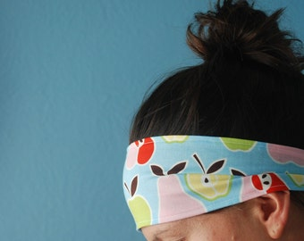 Nice and Wide Tie Headband in Colorful Apples + Pears