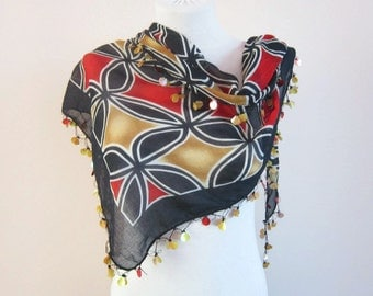 Handmade Traditional Turkish Fabric Scarf-Crochet Oya-black yellow red women scarf Valentines gift mothers day women scarf christmas