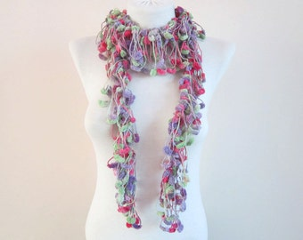 Mulberry Crochet Scarf,Pompom Scarf,Ponpon,Winter Accessories,Women scarf