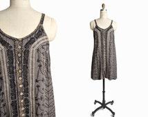 Vintage 90s Embroidered Hippie Dress in Gray Black - women's medium